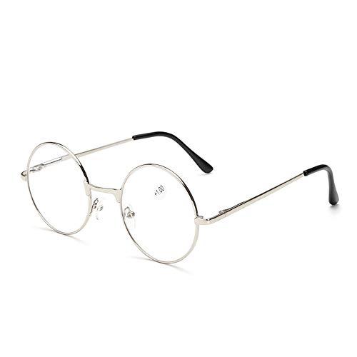 GEMSeven Retro Frauen Männer Runde Lesebrille für Metallrahmen Brille Hyperopie Brillen