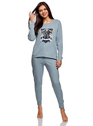 Oodji Ultra Mujer Pijama Algodón Pantalones, Azul