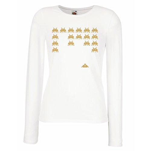 Weibliche langen Ärmeln T-Shirt Weinlese pc maniacs lustige Gamergeschenke lustige Gamerhemden (Medium Weiß (Ideen Do Yourself Kostüm It)