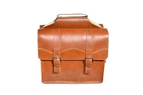 Elegantes bolsos de estilo vintage para colocar en el portaequipajes trasero de la bicicleta. Las bolsas se sujetan al portaequipajes con correas de seguridad de manera cómoda en la parte inferior de las bolsas. El cierre se realiza mediante hebillas...
