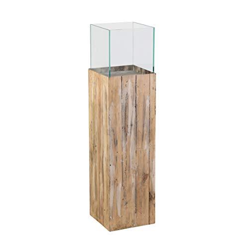 greemotion Windlichtsäule aus Kiefernholz braun-Blumensäule aus Glas-Pflanzsäule innen & außen-Dekosäule für den Garten ca. 21,5 x 21,5 x 80 cm, Holz, S