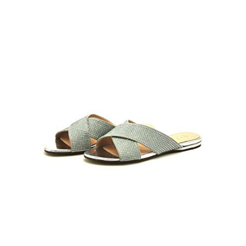 QPYC Sandali tacco piatto con strass donna con scarpe incrociate Comodi sandali piatti romani gray