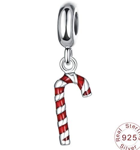 Zxx jewelry Sterling Silber Charm Bead Anhänger Santas Spazierstock rotes Mädchen Geburtstagsgeschenk für Fit Pandora, Biagi, Chamilia und ähnliche europäische 3mm Armbänder
