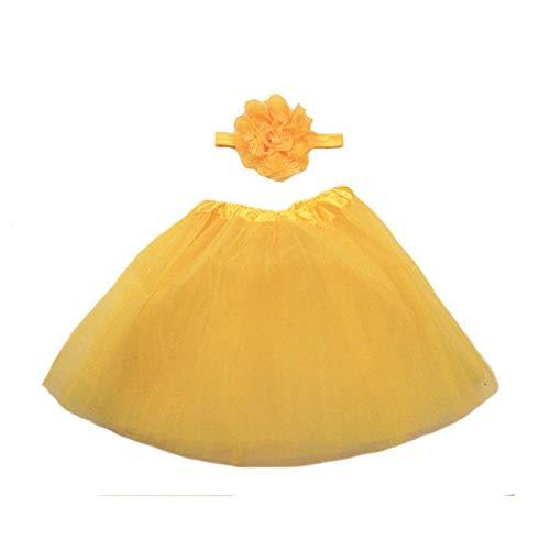 HITSAN INCORPORATION USA Cute Toddler Newborn Baby Girl Tutu Skirt Headband Photo Prop Costume Outfit Hot New Baby Girl Princess Skirt Headband Color Yellow