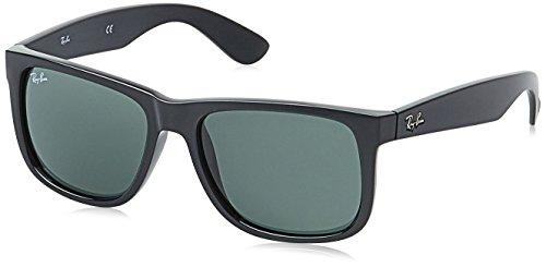 Ray-Ban RB4165 Non-Polarized Justin Classic Sonnenbrille Large (Herstellergröße: 55), Schwarz (Gestell: Schwarz, Gläser: Grün Klassisch 601/71)