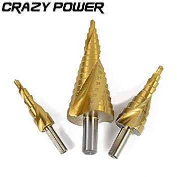 Golden: Crazy Power 3Pcs Hex Hss Schnellarbeitsstahl Titan beschichtete Spiralnutbohrer Set Kegelbohrung 1/4 Sechskantschaft