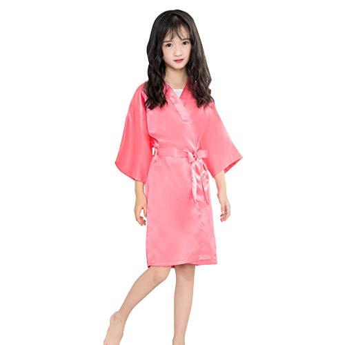 Lazzboy Pijama para Niñas Manga Dde Seda para Niños Cárdigan de Seda de Encaje de Color Liso Kimono Albornoz Ropa (Melon Rojo,5-7 años)