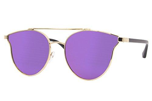 Cheapass Sonnenbrille Rund Gold Violett Lila Verspiegelt Designer-Brille 100%-UV400 Metall Damen Frauen