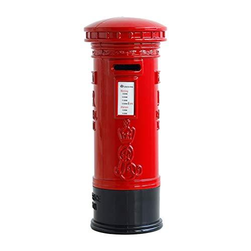 Toyvian 7 '' Britisch Rote Mailbox Sparschwein | Mini Postbox Münzspeicher, Vintage Dekor