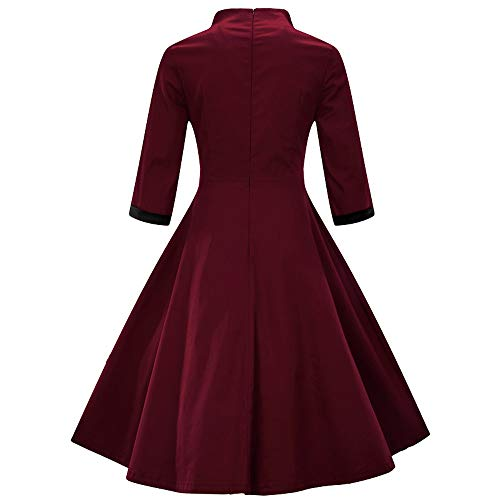 Sunnywill Women Leisure Dress, Deals! Fashion Womens Plus Size Half Sleeve Vintage Dress Solid Bow Retro Flare Dress Womens Fashion Slim Fit Dresses for All Seasons Wine