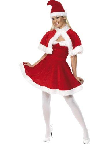 Roter Umhang Kostüm Ideen (Smiffys, Damen Weihnachtsfrau Kostüm, Kleid, Cape und Mütze, Größe: L,)