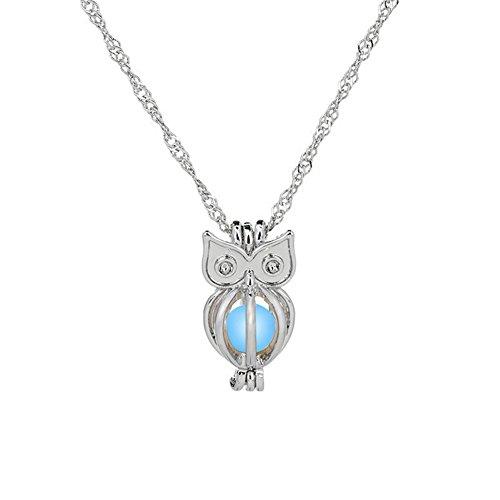 Gluckliy Frauen-männliche Schmucksache Glühen in der dunklen Art Halskette Nette hohle Eulen Tierhalskette, Blau (Halskette In Der Dunklen Glühen)