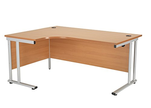 Cheapest Price for Office Hippo Left Crescent Cantilever Desk, 160 cm – Silver Frame/Beech Top Online