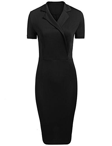 Meaneor Damen Elegant Cocktailkleid Casual Business Kleid V-Ausschnitt Wickelkleid Kurzarm Etuikleid Knielang Bleistift kleid Retro Kleid