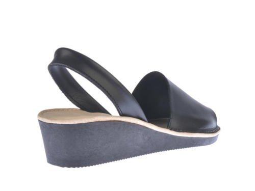 Sandales menorquinas en coin, tout en cuir mod. 211. Chaussure Made in Spain, garantie de qualité. Noir