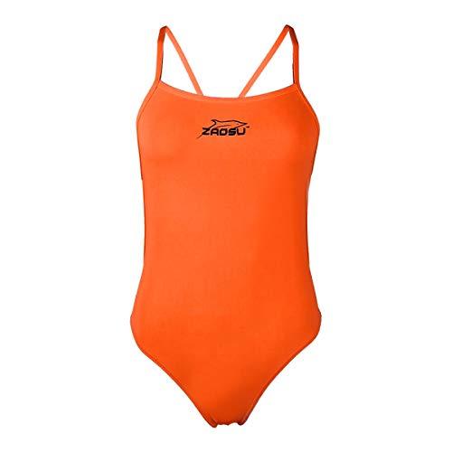 ZAOSU Damen und Mädchen Schwimmanzug Essential | Sport Badeanzug für das Schwimm Training, Größe:176/36, Farbe:Neonorange