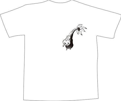 T-Shirt E1327 Schönes T-Shirt mit farbigem Brustaufdruck - Logo / Grafik / Design - Stecker von Verlänerungskabel Weiß