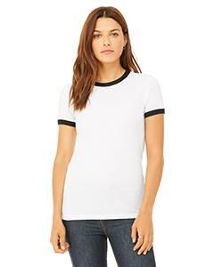 Ladies' Jersey Short-Sleeve Ringer T-Shirt WHITE/ BLACK L