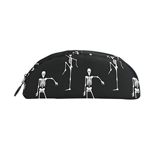 Schwarz Weiß Dead Dance Skeletons Tapete Stift Organizer Federmäppchen Reißverschluss Kleine Kosmetiktasche Schreibwaren Studenten Klasse Kinder Junge Teen Mädchen Schule College Campus Geschenk