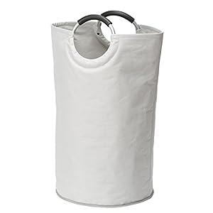 WENKO 3440001100 Wäschesammler Jumbo Stone-/Wäschekorb, Multifunktionstasche Fassungsvermögen: 69 l, 38 x 72 x 38 cm, Weiß