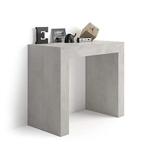 Mobili fiver, tavolo consolle allungabile angelica, cemento, 45 x 90 x 76 cm, nobilitato/alluminio, made in italy
