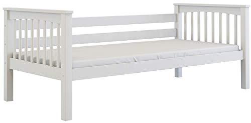 Furnneo Kinderbett 90x200 Weiß Jugendbett Juniorbett Bett inkl. Lattenrost, aus Buche massivholz (Weiß, Ohne Bettkasten) - Home Eleganz Lattenrost