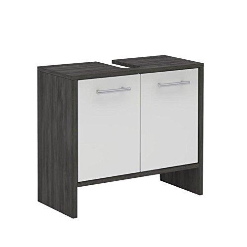 Waschbeckenunterschrank Badschrank Waschtischunterschrank TOULOUSE, in Esche grau, Front weiß mit Glanz, 62 x 55 x 28 cm