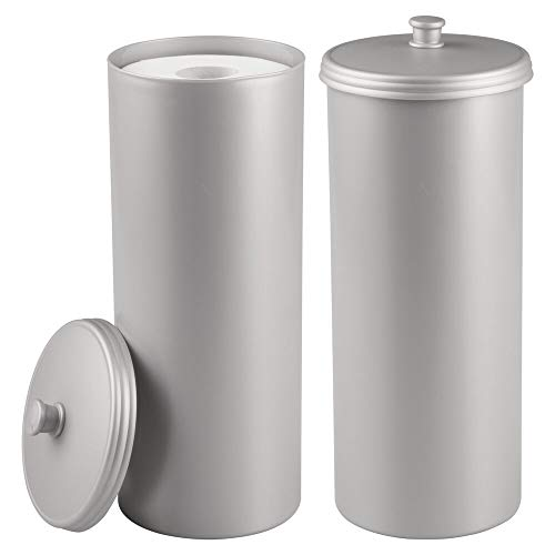mDesign 2er-Set Toilettenpapierhalter ohne Bohren - Klorollenhalter fürs Badezimmer - Papierrollenhalter freistehend aus robustem Kunststoff - silberfarben