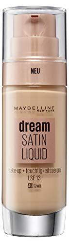 Maybelline Dream Satin Liquid Make-up Nr. 40 Fawn, für einen natürlich strahlenden Teint mit zart schimmerndem Satin-Finish, mit Feuchtigkeitsserum und mattierendem Primer, 30 ml -