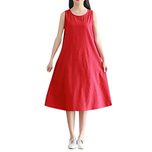 PorLous Kleiden, Damen Letztes Modell Langer Rock Frau Beiläufig Baumwolle Leinen Runden Hals Ärmellos Lose Solide Farbe Kleid Sexy Mode Kurzer Rock