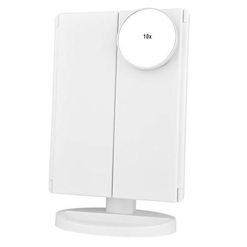 WEGCJU Le Miroir De Maquillage à Trois Volets LED Peut être Ajusté pour Toucher La Luminosité,White-With10X