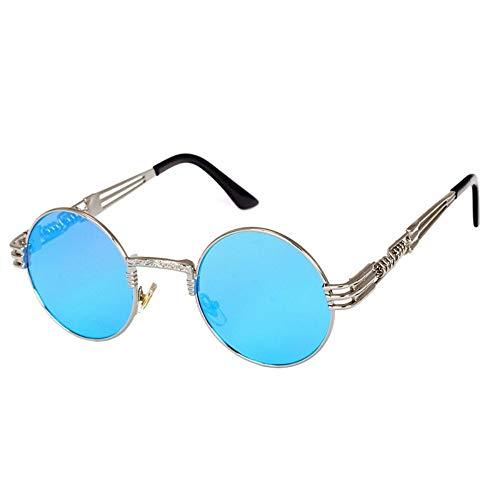 Sonnenbrille Retro Brille Gold Brille Frames Brillen Für Frauen Vintage Steampunk Runde Klar Mode Brille Männer Männliche Nerd Metall Blau Film