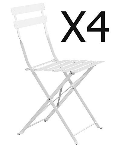 PEGANE Lot de 4 chaises de Jardin Pliante Blanc Mat - Dim : 41 x 46 x 80 cm