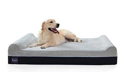 LaiFug Extra Large Memory Foam Pet/Letto per cani, 128ⅹ92ⅹ24, cioccolato, con fodera resistente all'acqua e rivestimento lavabile amovibile