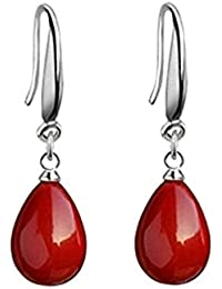 a0ac006ef447 Pendientes mujer rojas de plata de ley 925 pendientes largos con colgantes  de perlas rojas