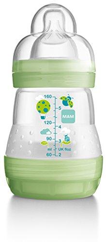 MAM Large Bottle Starter Set including Anti-Colic Self Sterilising Bottles, Bottle Teats and Starter Soother (Green)