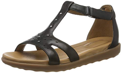 574b49c1 Clarks Un Reisel Mara, Sandalias con Tira Vertical para Mujer, Negro (Black  Leather