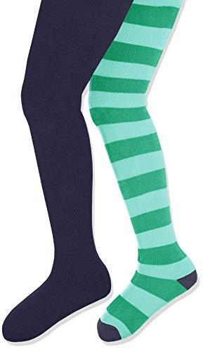 Playshoes Mädchen warme, elastische Thermo Block Komfortbund Strumpfhose, Dunkelblau/Ringel-Grün, Herstellergröße: 98/104 (2er Pack)