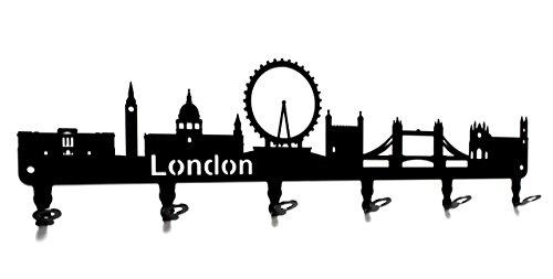steelprint.de Wandgarderobe - Skyline London - Flurgarderobe 58 cm - England - Kleiderhaken, Hakenleiste, Garderobeneiste, Garderobenhalter, Garderobe - Metall, schwarz