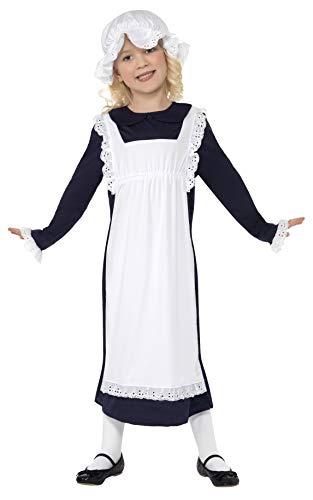 (Smiffys Kinder Viktorianisches Armes Mädchen Kostüm, Kleid mit Schürze und Mütze, Größe: M, 33714)