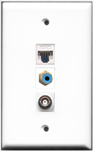RiteAV-1Port RCA blau und 1Port BNC und 1Port Cat5e Ethernet weiß Wall Plate Rca Modular Wall Outlet