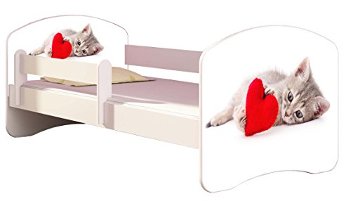 Kinderbett Jugendbett mit einer Schublade und Matratze Weiß ACMA II 140 160 180 40 Design (140x70 cm, 40 Katze mit Herz)