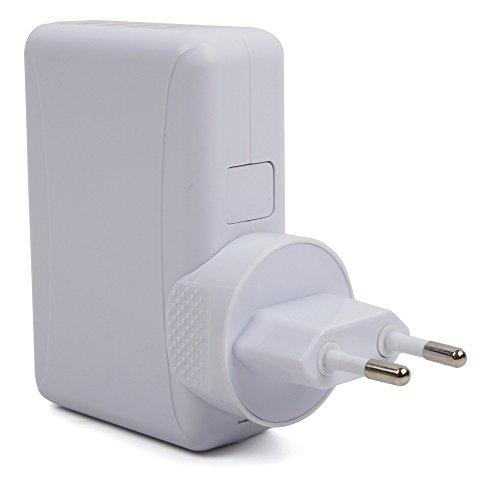 DURAGADGET Ladegerät mit 4 USB-Anschlüssen - zum Aufladen Ihres Mio Cyclo 200 Navis und DREI weiteren USB-fähigen Geräten -