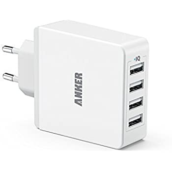 Anker 36W 5V / 7.2A 4-Port USB Ladegerät Wand Ladeadapter mit PowerIQ Technologie Wall Charger für Smartphones Tablets und andere USB-ladende Geräte (Weiß)