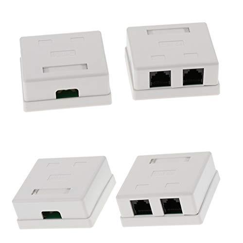 KESOTO 4X Cat5e RJ45 Oberflächenmontage Box mit 2X RJ45 Buchsen Keystone Jack RJ45 Surface Mount Jack (Mount Box 2-Ports) - Cat5e Surface Jack