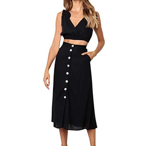 Linkay Damen Kleid, Sommer Neuer Trend Einfarbig Spitze Off-Shoulder Rock Pyjama 2 STÜCKE Kleider Mode 2019 (Schwarz, X-Large) -