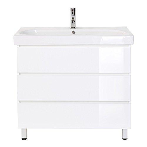 Stand-Waschplatz Standmöbel inkl. Mineralguss-Waschbecken in Hochgl. weiß ideal für Gäste-WC (breite 90 cm)