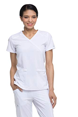 Dickies EDS Essentials by Women's Mock Wrap Solid Scrub Top X-Large White - White Scrub-top