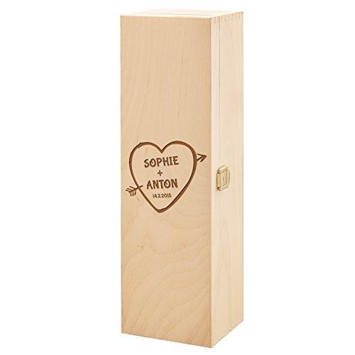 Weinbox aus Holz mit Herz und persönlicher Gravur