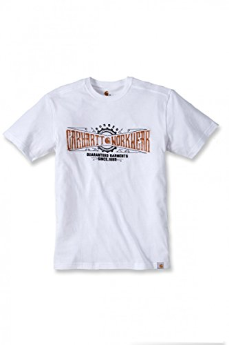 T-Shirt Carhartt .102095.100.S006Maddock Work Crew Aufdruck, Größe L, weiß (Rundhalsausschnitt Tagless T-shirt)